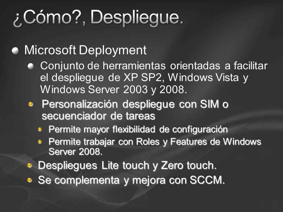 Microsoft Deployment Conjunto de herramientas orientadas a facilitar el despliegue de XP SP2, Windows Vista y Windows Server 2003 y 2008. Personalizac