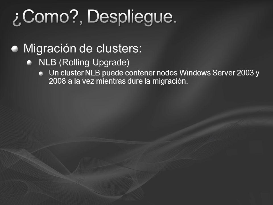 Migración de clusters: NLB (Rolling Upgrade) Un cluster NLB puede contener nodos Windows Server 2003 y 2008 a la vez mientras dure la migración.