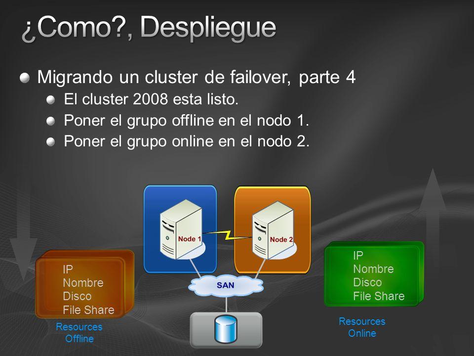 Migrando un cluster de failover, parte 4 El cluster 2008 esta listo. Poner el grupo offline en el nodo 1. Poner el grupo online en el nodo 2. Resource