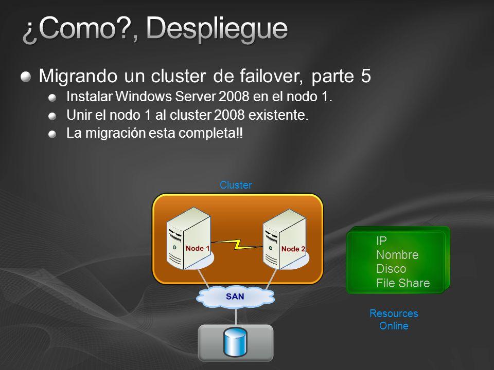Migrando un cluster de failover, parte 5 Instalar Windows Server 2008 en el nodo 1. Unir el nodo 1 al cluster 2008 existente. La migración esta comple