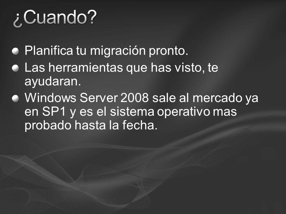 Planifica tu migración pronto. Las herramientas que has visto, te ayudaran. Windows Server 2008 sale al mercado ya en SP1 y es el sistema operativo ma