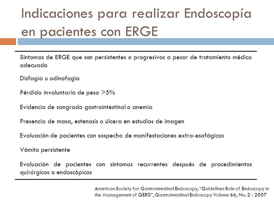 Indicaciones para realizar Endoscopía en pacientes con ERGE Síntomas de ERGE que son persistentes o progresivos a pesar de tratamiento médico adecuado Disfagia u odinofagia Pérdida involuntaria de peso >5% Evidencia de sangrado gastrointestinal o anemia Presencia de masa, estenosis o úlcera en estudios de imagen Evaluación de pacientes con sospecha de manifestaciones extra-esofágicas Vómito persistente Evaluación de pacientes con síntomas recurrentes después de procedimientos quirúrgicos o endoscópicos American Society for Gastrointestinal Endoscopy, Guidelines Role of Endoscopy in the Management of GERD, Gastrointestinal Endoscopy Volume 66, No.
