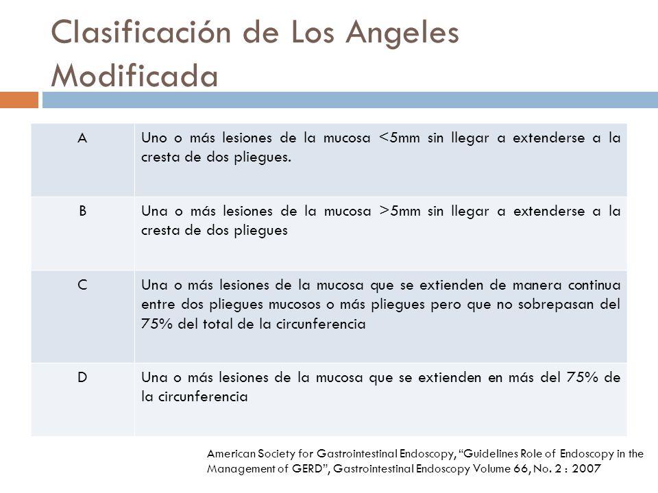 Clasificación de Los Angeles Modificada AUno o más lesiones de la mucosa <5mm sin llegar a extenderse a la cresta de dos pliegues.