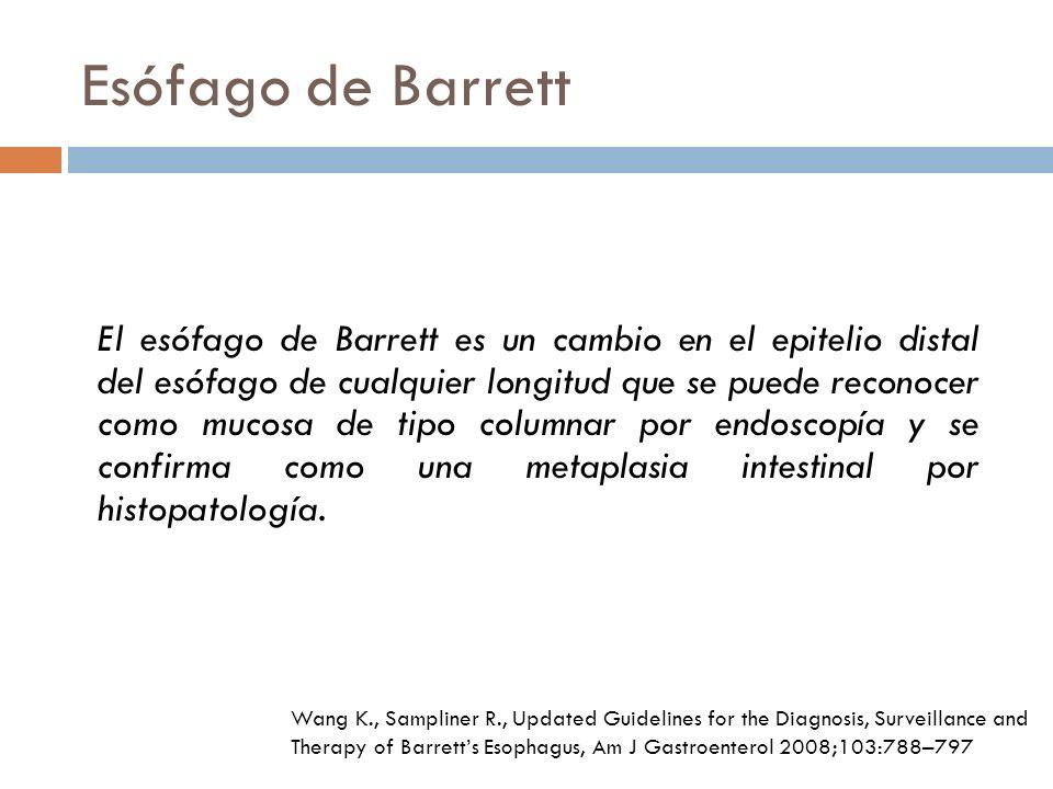 Esófago de Barrett El esófago de Barrett es un cambio en el epitelio distal del esófago de cualquier longitud que se puede reconocer como mucosa de tipo columnar por endoscopía y se confirma como una metaplasia intestinal por histopatología.