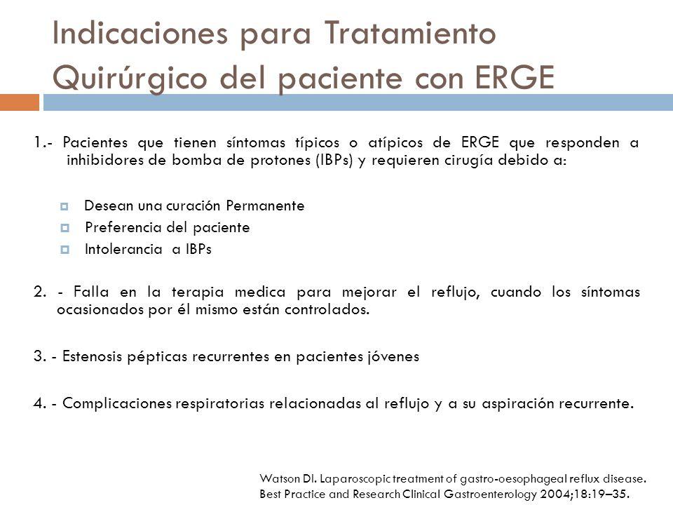 Indicaciones para Tratamiento Quirúrgico del paciente con ERGE 1.- Pacientes que tienen síntomas típicos o atípicos de ERGE que responden a inhibidores de bomba de protones (IBPs) y requieren cirugía debido a: Desean una curación Permanente Preferencia del paciente Intolerancia a IBPs 2.