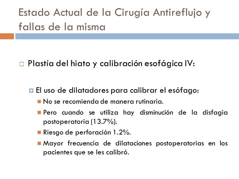 Estado Actual de la Cirugía Antireflujo y fallas de la misma Plastía del hiato y calibración esofágica IV: El uso de dilatadores para calibrar el esófago: No se recomienda de manera rutinaria.