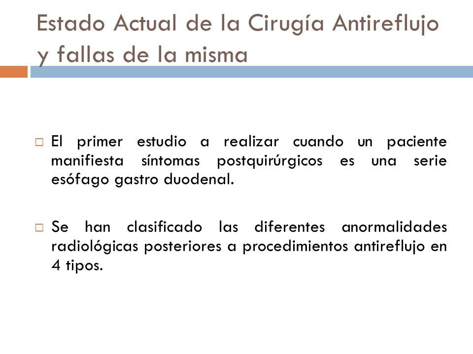 Estado Actual de la Cirugía Antireflujo y fallas de la misma El primer estudio a realizar cuando un paciente manifiesta síntomas postquirúrgicos es una serie esófago gastro duodenal.