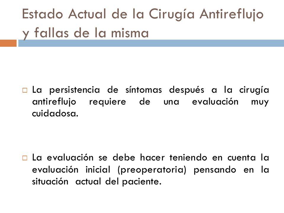 Estado Actual de la Cirugía Antireflujo y fallas de la misma La persistencia de síntomas después a la cirugía antireflujo requiere de una evaluación muy cuidadosa.