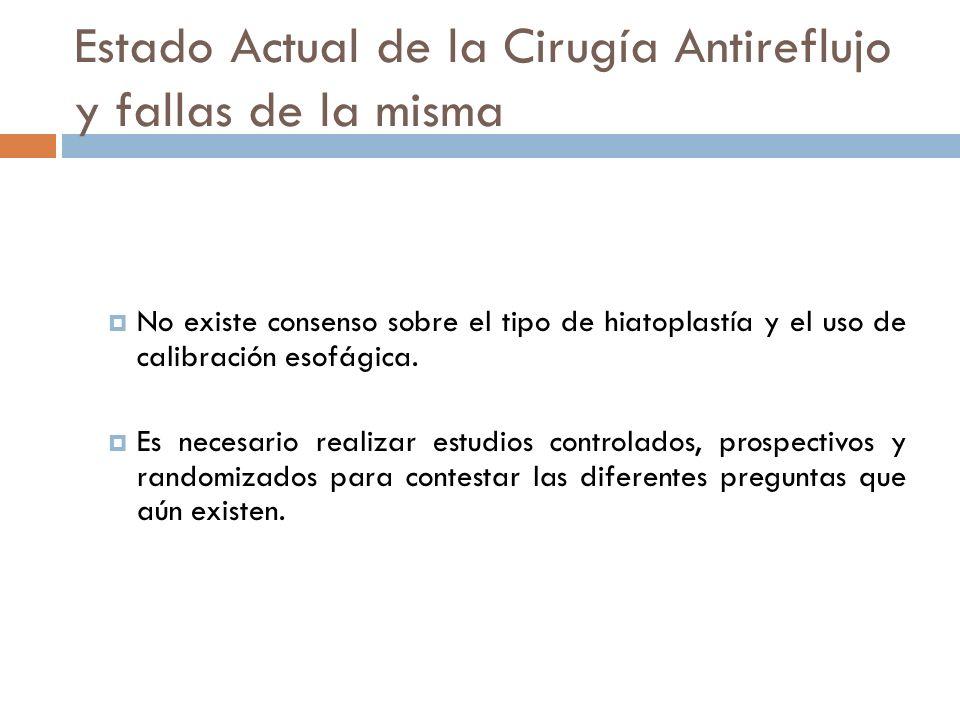 Estado Actual de la Cirugía Antireflujo y fallas de la misma No existe consenso sobre el tipo de hiatoplastía y el uso de calibración esofágica.