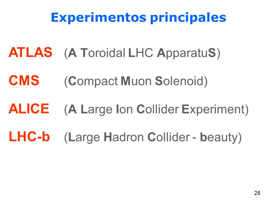 26 Experimentos principales ATLAS (A Toroidal LHC ApparatuS) CMS (Compact Muon Solenoid) ALICE (A Large Ion Collider Experiment) LHC-b (Large Hadron C