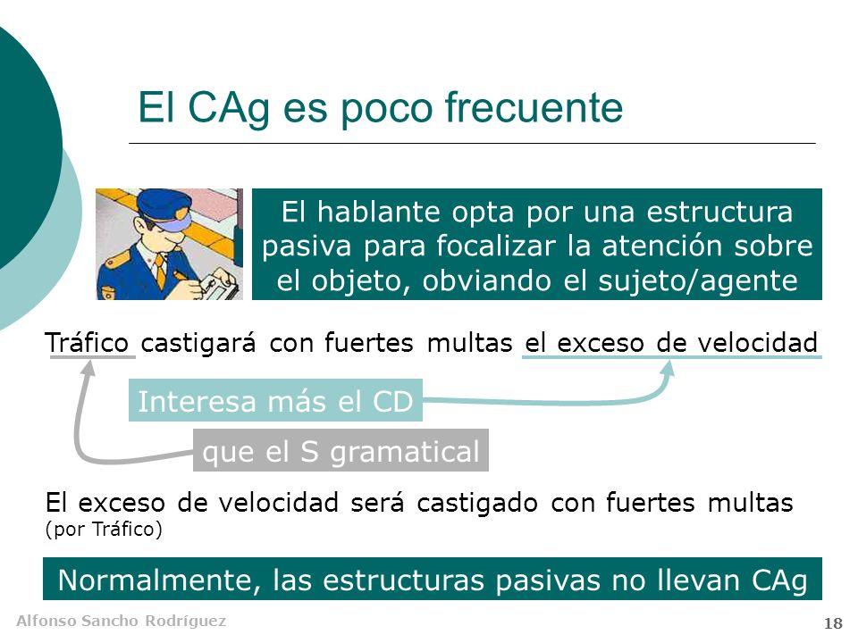 Alfonso Sancho Rodríguez 17 El complemento agente (C Ag) Es un SN o unidad equivalente, precedida de la preposición por, que se puede incluir en O pas