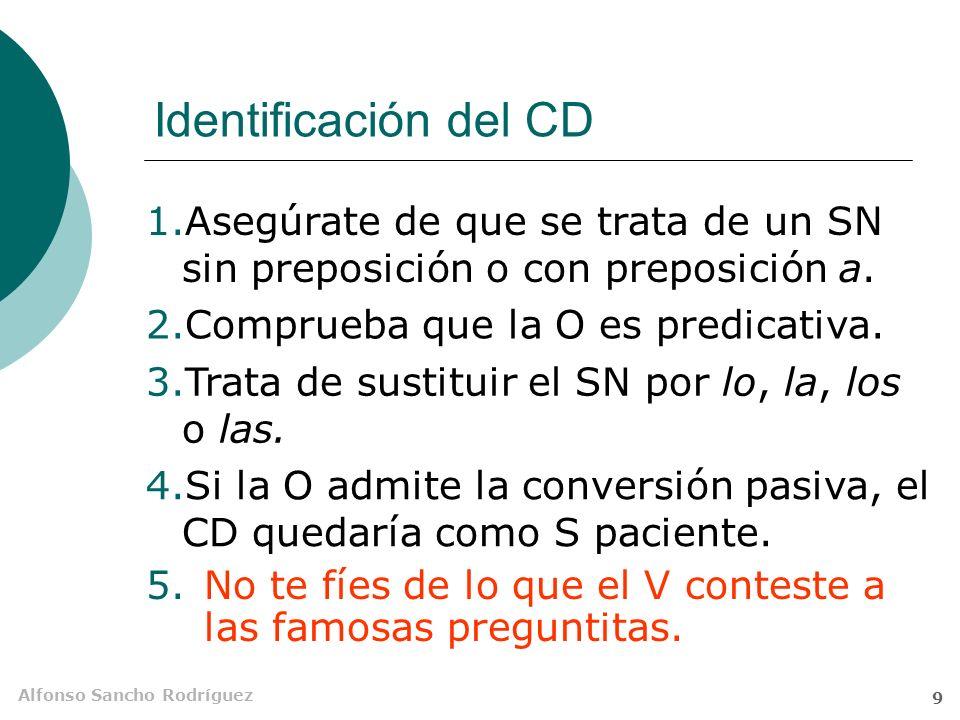 Alfonso Sancho Rodríguez 8 Referente del CD consabido – ¿Has visto a Paco? – No, no lo he visto. el SN se sustituye en el discurso por los átonos lo,