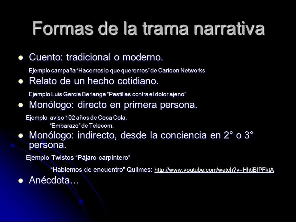 Formas de la trama narrativa Cuento: tradicional o moderno.