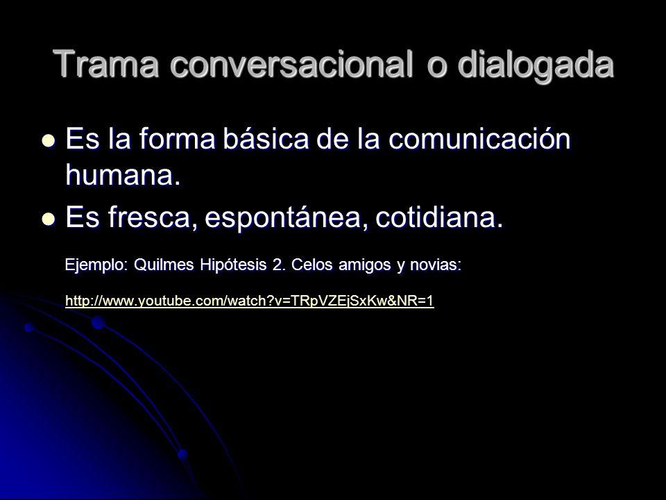 Trama conversacional o dialogada Es la forma básica de la comunicación humana.