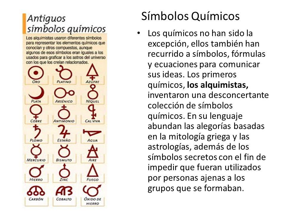 Símbolos Químicos Los químicos no han sido la excepción, ellos también han recurrido a símbolos, fórmulas y ecuaciones para comunicar sus ideas. Los p