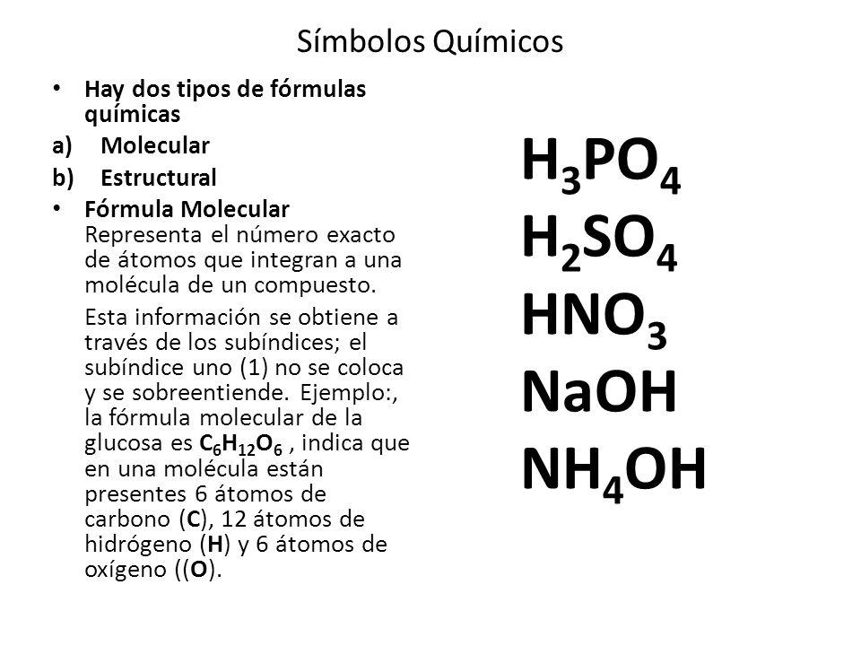 Símbolos Químicos Hay dos tipos de fórmulas químicas a)Molecular b)Estructural Fórmula Molecular Representa el número exacto de átomos que integran a