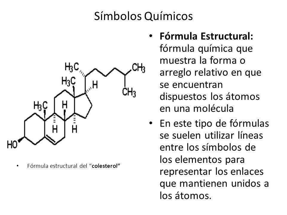 Símbolos Químicos Fórmula Estructural: fórmula química que muestra la forma o arreglo relativo en que se encuentran dispuestos los átomos en una molécula En este tipo de fórmulas se suelen utilizar líneas entre los símbolos de los elementos para representar los enlaces que mantienen unidos a los átomos.