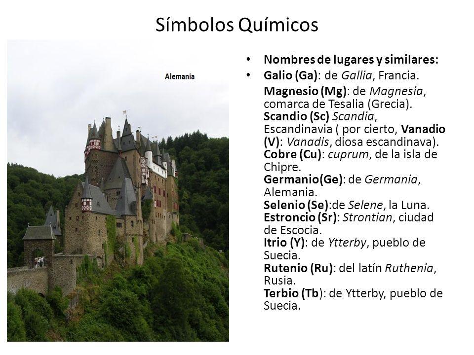 Símbolos Químicos Nombres de lugares y similares: Galio (Ga): de Gallia, Francia. Magnesio (Mg): de Magnesia, comarca de Tesalia (Grecia). Scandio (Sc