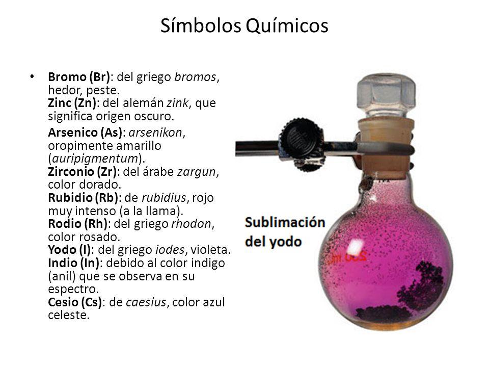 Símbolos Químicos Bromo (Br): del griego bromos, hedor, peste. Zinc (Zn): del alemán zink, que significa origen oscuro. Arsenico (As): arsenikon, orop