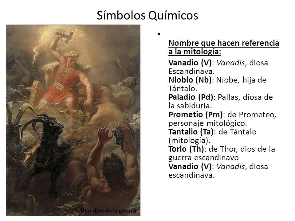 Símbolos Químicos Nombre que hacen referencia a la mitología: Vanadio (V): Vanadis, diosa Escandinava. Niobio (Nb): Níobe, hija de Tántalo. Paladio (P