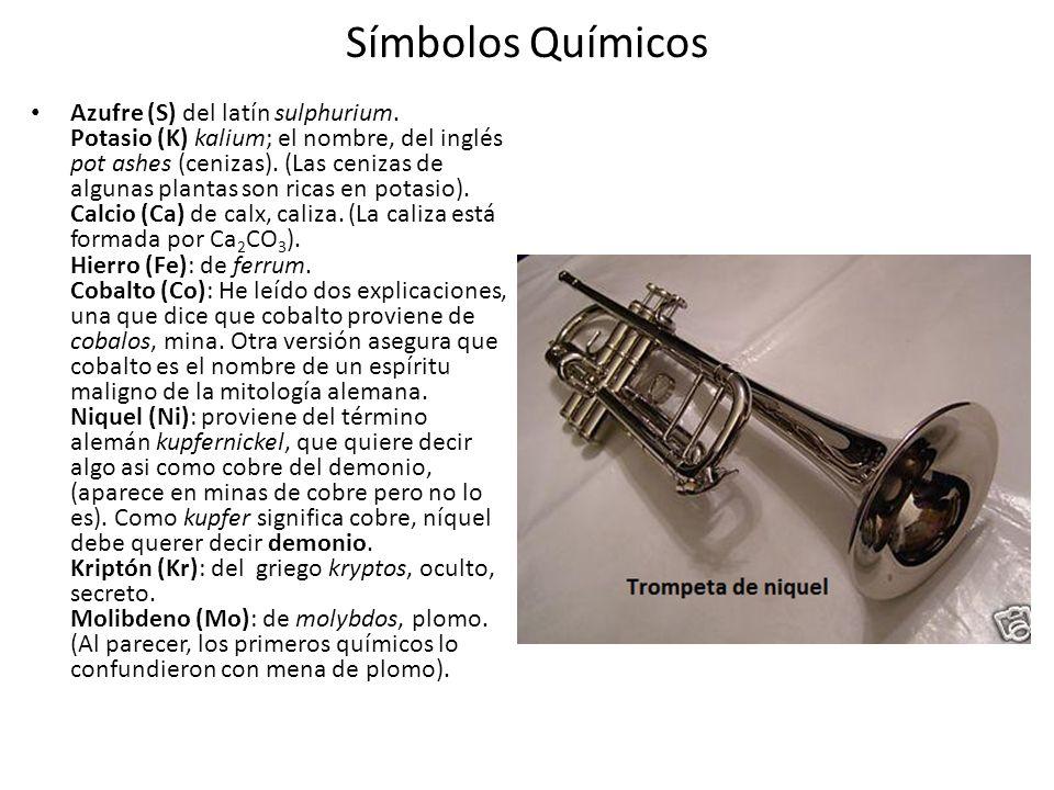 Símbolos Químicos Azufre (S) del latín sulphurium.