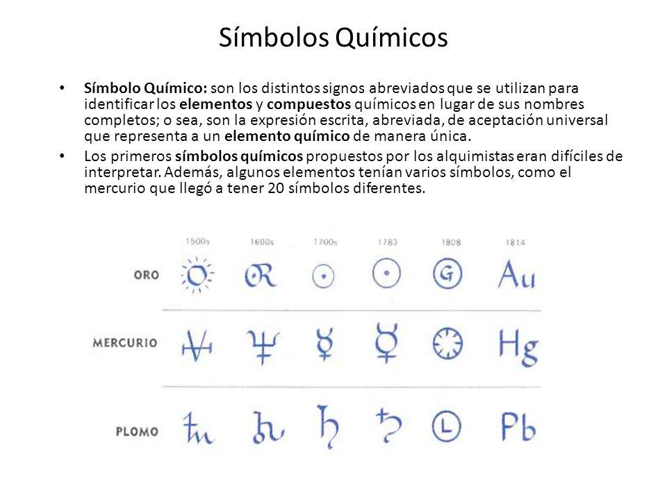 Símbolos Químicos Símbolo Químico: son los distintos signos abreviados que se utilizan para identificar los elementos y compuestos químicos en lugar d