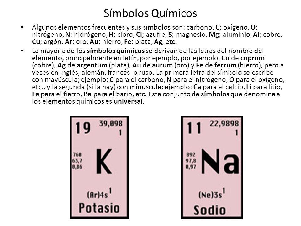 Símbolos Químicos Algunos elementos frecuentes y sus símbolos son: carbono, C; oxígeno, O; nitrógeno, N; hidrógeno, H; cloro, Cl; azufre, S; magnesio, Mg; aluminio, Al; cobre, Cu; argón, Ar; oro, Au; hierro, Fe; plata, Ag, etc.