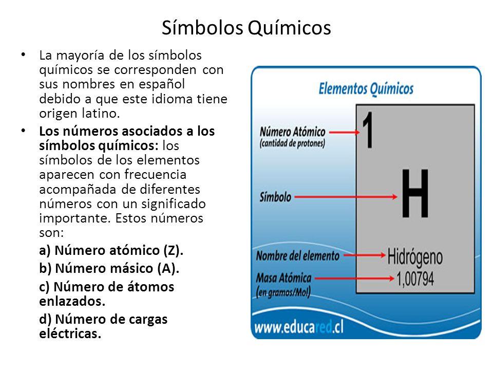 Símbolos Químicos La mayoría de los símbolos químicos se corresponden con sus nombres en español debido a que este idioma tiene origen latino. Los núm