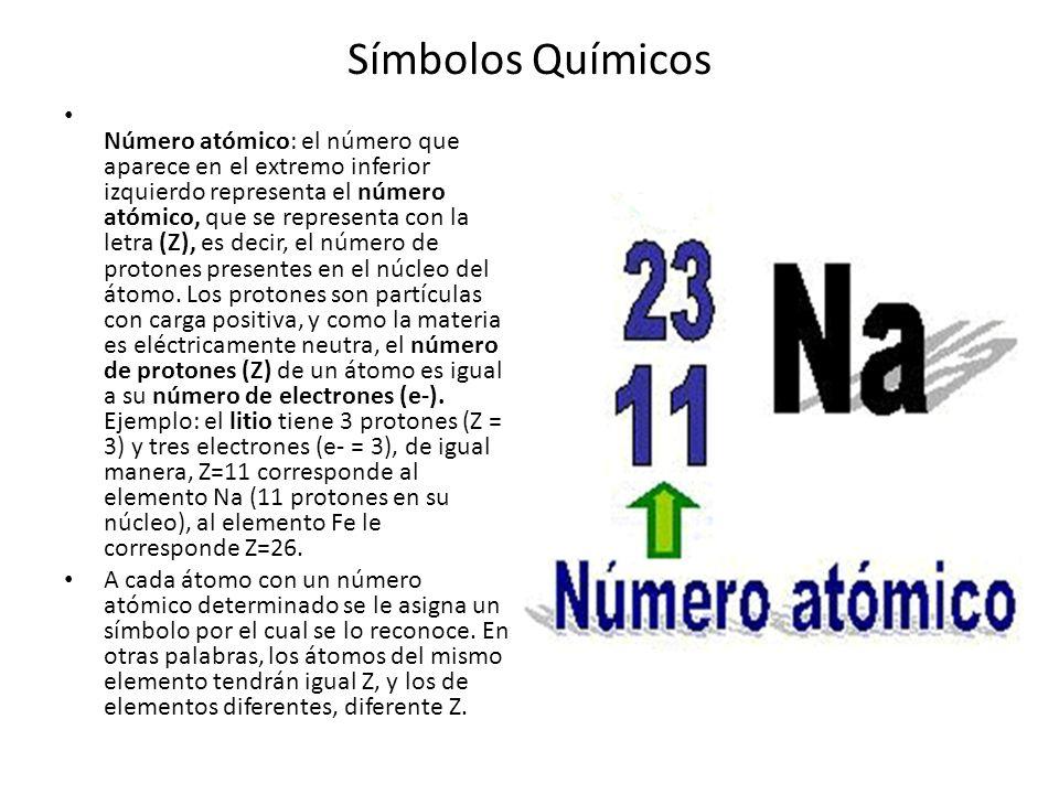 Símbolos Químicos Número atómico: el número que aparece en el extremo inferior izquierdo representa el número atómico, que se representa con la letra (Z), es decir, el número de protones presentes en el núcleo del átomo.