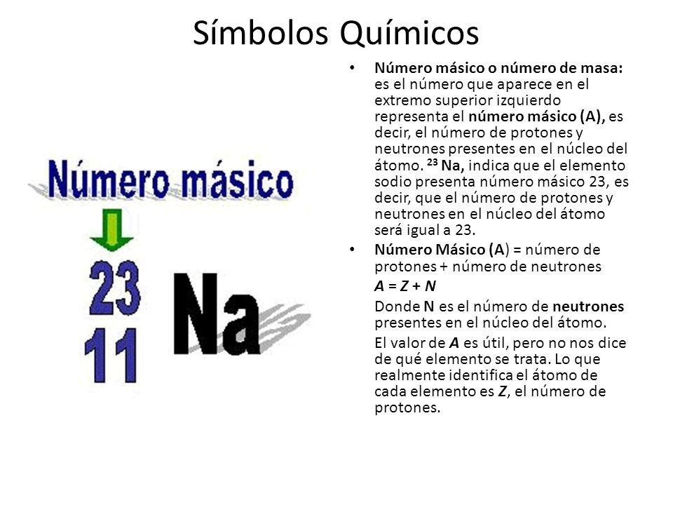 Símbolos Químicos Número másico o número de masa: es el número que aparece en el extremo superior izquierdo representa el número másico (A), es decir, el número de protones y neutrones presentes en el núcleo del átomo.