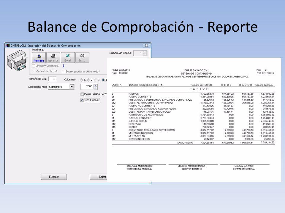 Balance de Comprobación - Reporte
