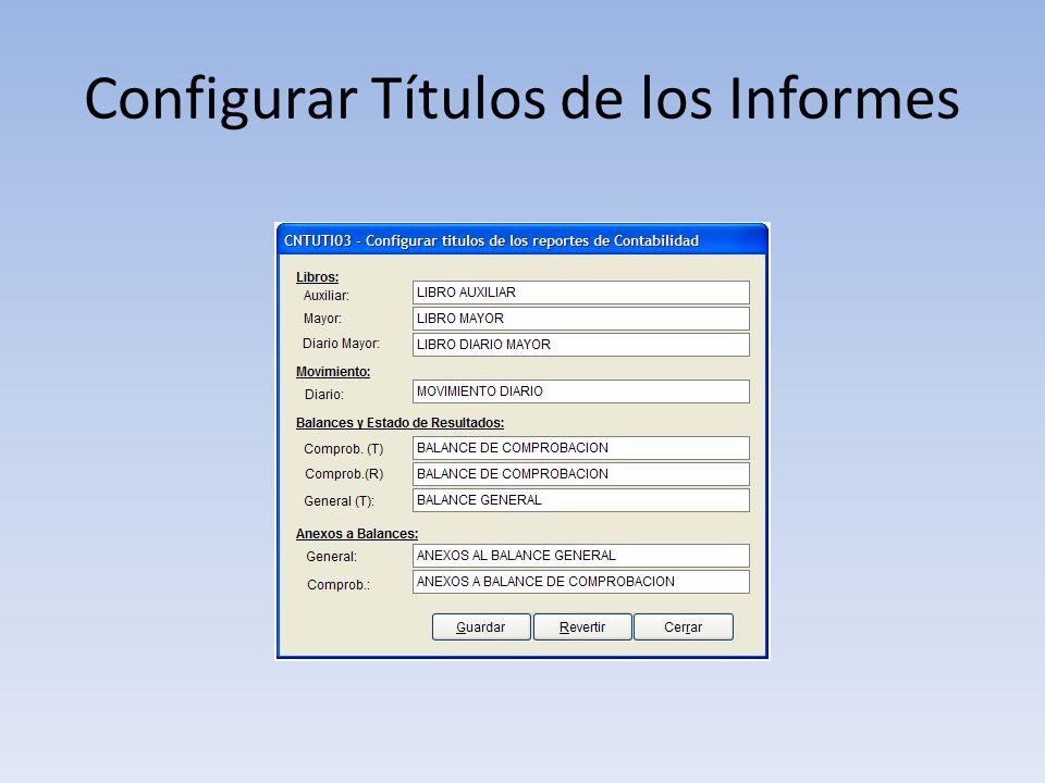 Configurar Títulos de los Informes