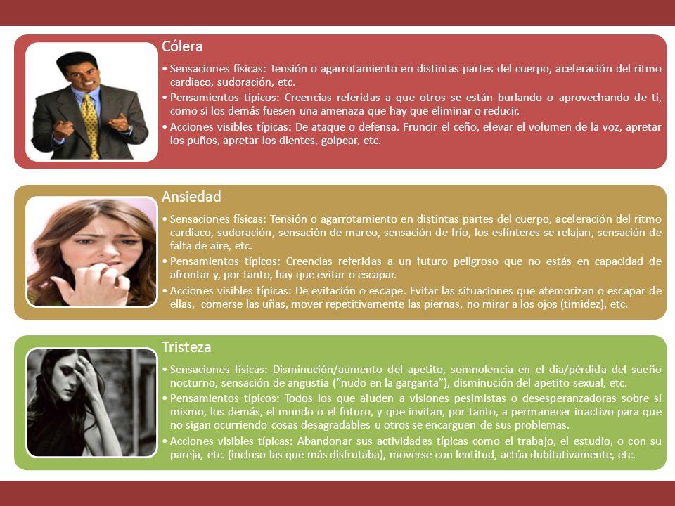 Cólera Sensaciones físicas: Tensión o agarrotamiento en distintas partes del cuerpo, aceleración del ritmo cardiaco, sudoración, etc.