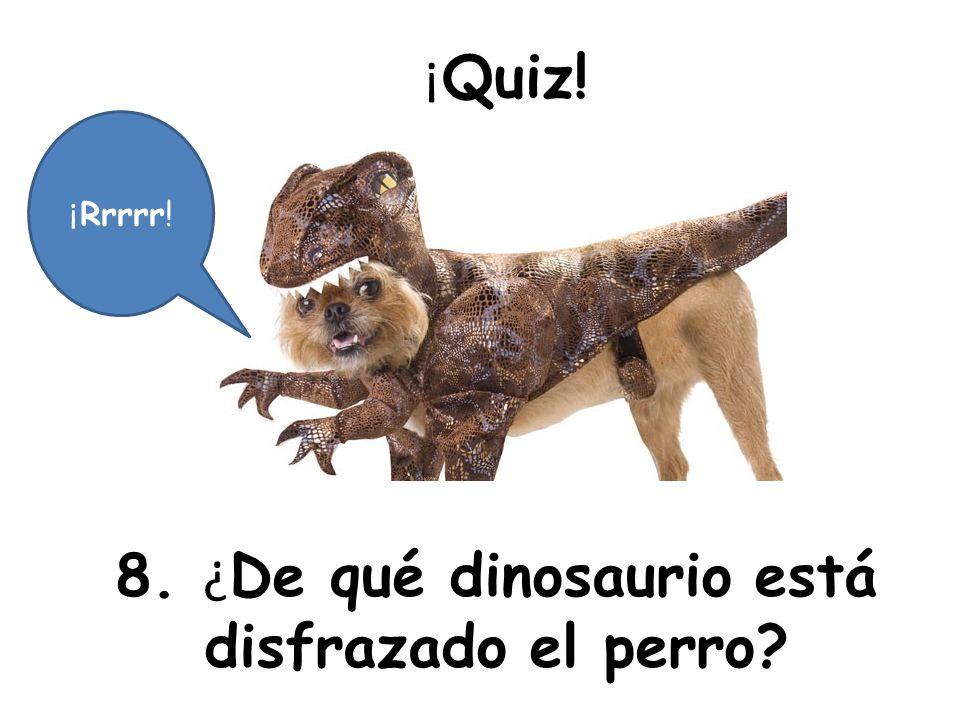 ¡ Quiz! 8. ¿ De qué dinosaurio está disfrazado el perro? ¡ Rrrrr!