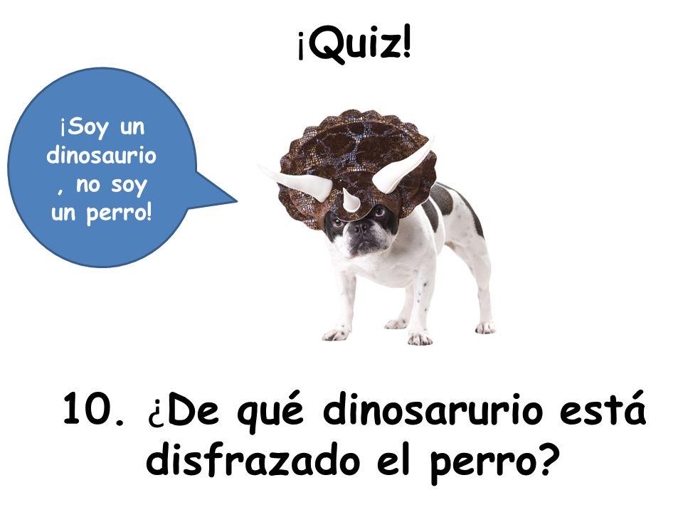 ¡ Quiz! 10. ¿ De qué dinosarurio está disfrazado el perro? ¡ Soy un dinosaurio, no soy un perro!