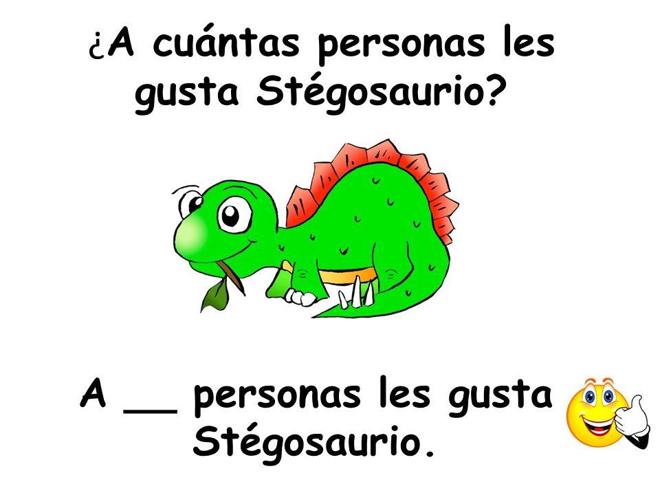 ¿ A cuántas personas les gusta Stégosaurio? A __ personas les gusta Stégosaurio.