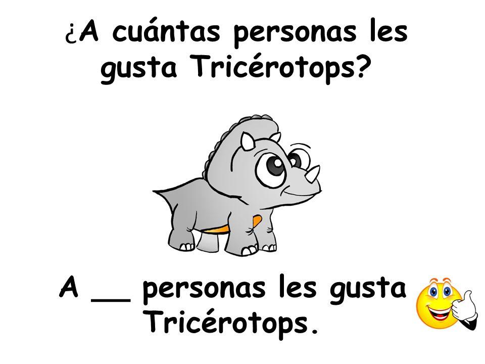 ¿ A cuántas personas les gusta Tricérotops? A __ personas les gusta Tricérotops.
