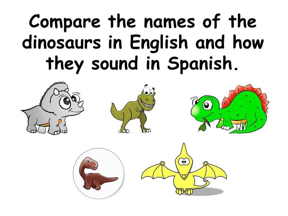 Compare the names of the dinosaurs in English and how they sound in Spanish.
