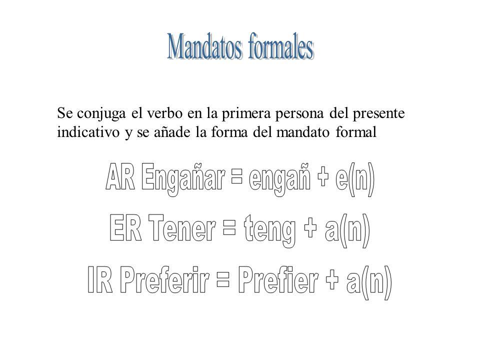 Se conjuga el verbo en la primera persona del presente indicativo y se añade la forma del mandato formal