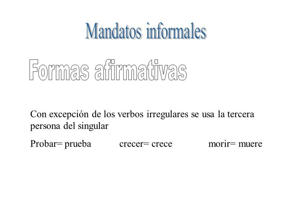 Con excepción de los verbos irregulares se usa la tercera persona del singular Probar= pruebacrecer= crecemorir= muere