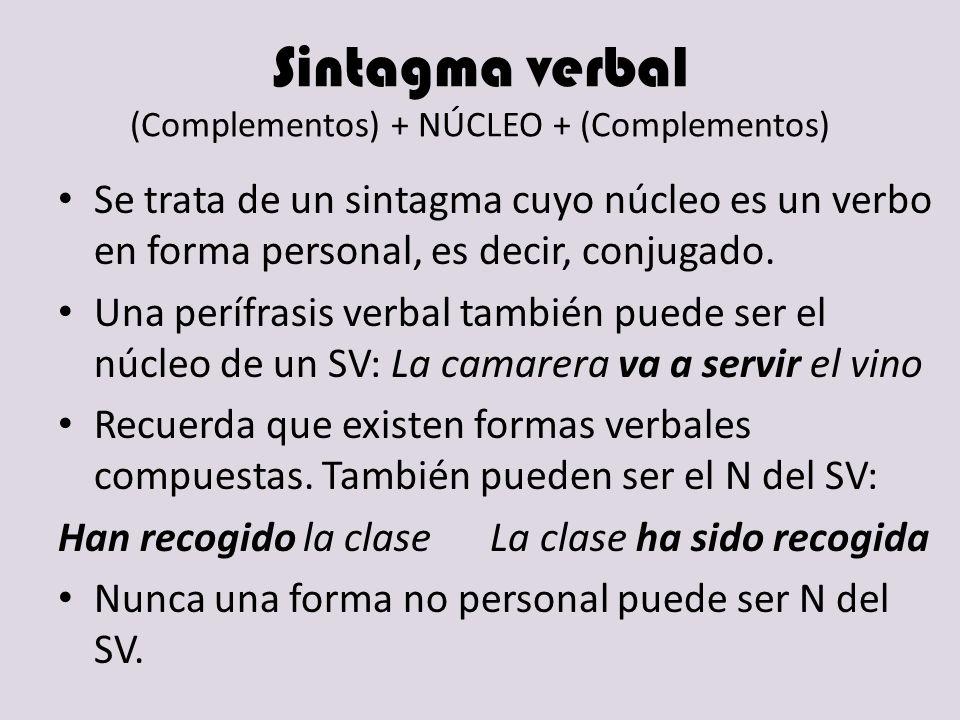 Sintagma verbal (Complementos) + NÚCLEO + (Complementos) Se trata de un sintagma cuyo núcleo es un verbo en forma personal, es decir, conjugado. Una p