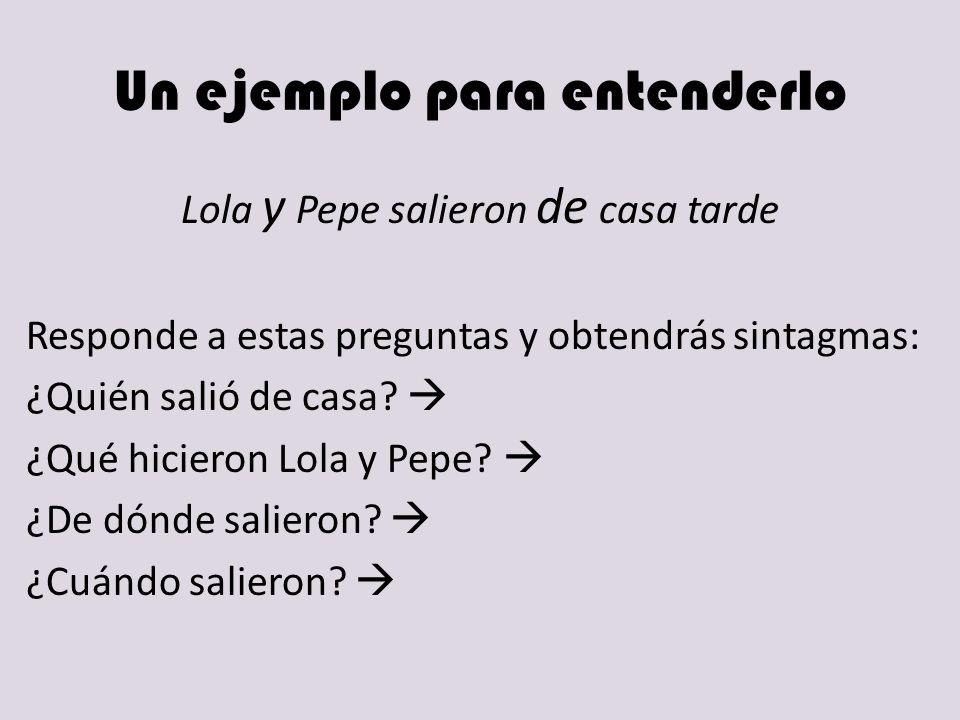 Un ejemplo para entenderlo Lola y Pepe salieron de casa tarde Responde a estas preguntas y obtendrás sintagmas: ¿Quién salió de casa? ¿Qué hicieron Lo
