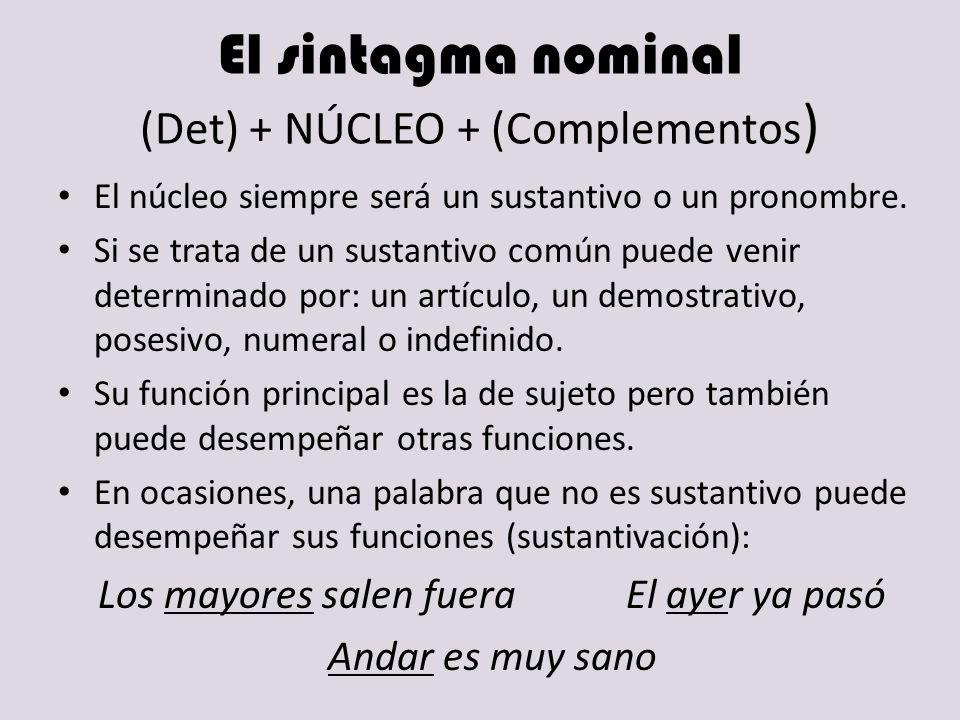 El sintagma nominal (Det) + NÚCLEO + (Complementos ) El núcleo siempre será un sustantivo o un pronombre. Si se trata de un sustantivo común puede ven