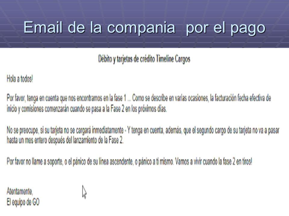 Email de la compania por el pago