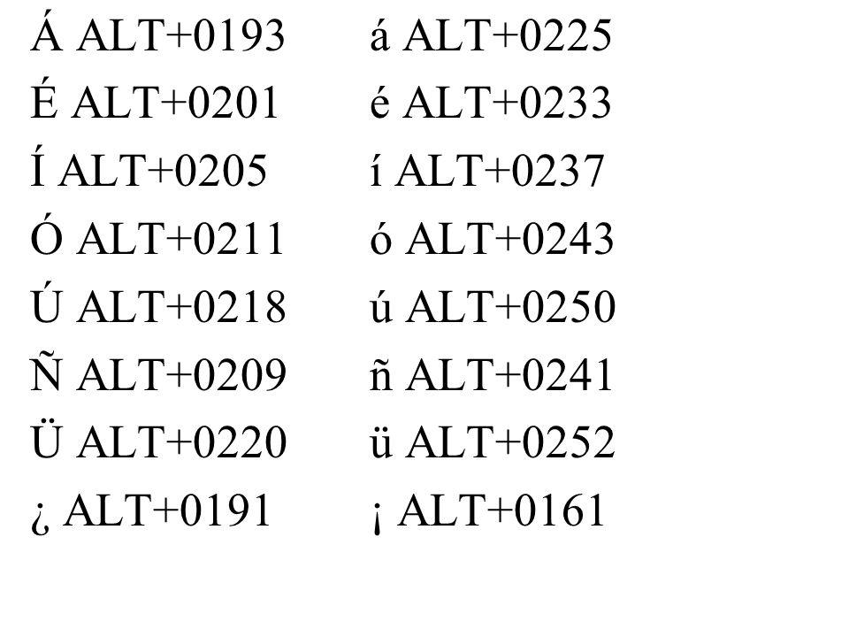 Á ALT+0193á ALT+0225 É ALT+0201é ALT+0233 Í ALT+0205í ALT+0237 Ó ALT+0211ó ALT+0243 Ú ALT+0218ú ALT+0250 Ñ ALT+0209ñ ALT+0241 Ü ALT+0220ü ALT+0252 ¿ ALT+0191¡ ALT+0161