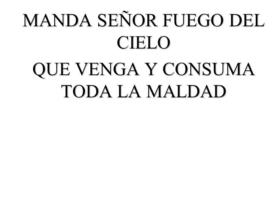 MANDA SEÑOR FUEGO DEL CIELO QUE VENGA Y CONSUMA TODA LA MALDAD
