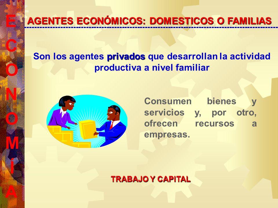 Son los agentes p pp privados que desarrollan la actividad productiva a nivel familiar AGENTES ECONÓMICOS: DOMESTICOS O FAMILIAS --------------------------------------------------------------------------------------------------- Consumen bienes y servicios y, por otro, ofrecen recursos a empresas.
