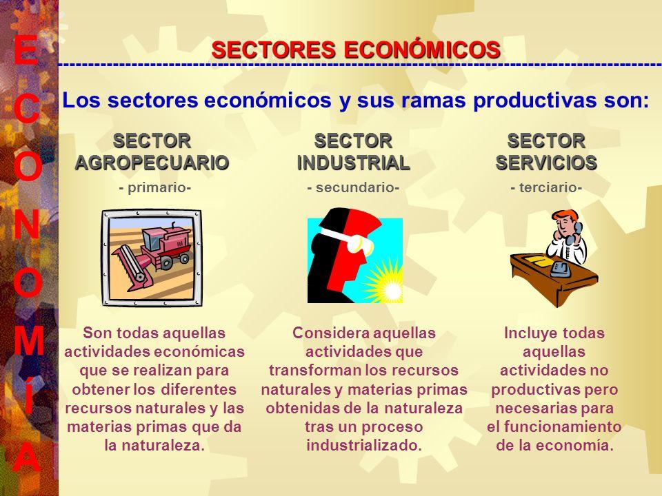 SECTOR AGROPECUARIO Los sectores económicos y sus ramas productivas son: SECTOR INDUSTRIAL SECTOR SERVICIOS - terciario-- secundario-- primario- Son todas aquellas actividades económicas que se realizan para obtener los diferentes recursos naturales y las materias primas que da la naturaleza.