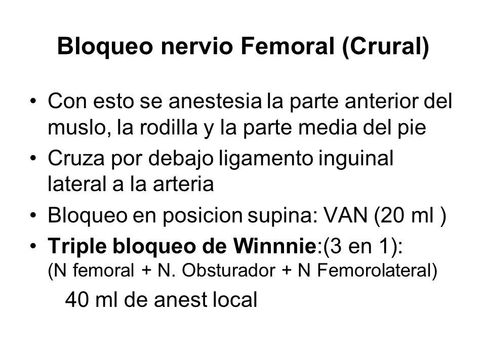 Bloqueo nervio Femoral (Crural) Con esto se anestesia la parte anterior del muslo, la rodilla y la parte media del pie Cruza por debajo ligamento ingu