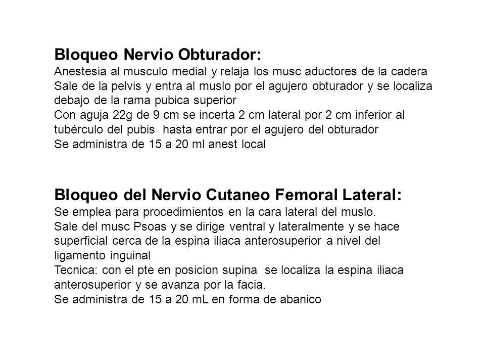 Bloqueo Nervio Obturador: Anestesia al musculo medial y relaja los musc aductores de la cadera Sale de la pelvis y entra al muslo por el agujero obtur